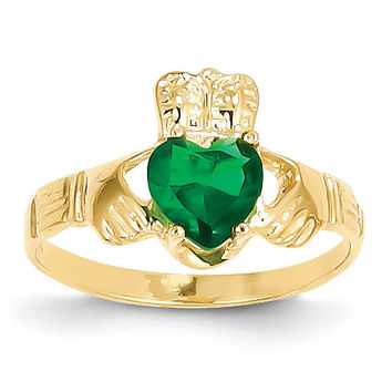 14k May Birthstone Claddagh Ring