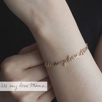 Actual Handwriting Bracelet / Signature Bracelet / Custom Handwriting Bracelet / Name Bracelet / Bridesmaid Gift / Mother's Day Gift - HB16