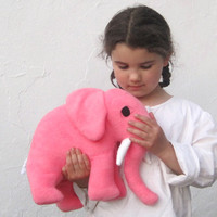 giant elephant TOY stuffed animal in sweet pink / Petaluma the all-natural eco friendly stuffie baby toy - nursery decor