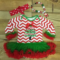 Chevron Christmas Tree Tutu Onesuit