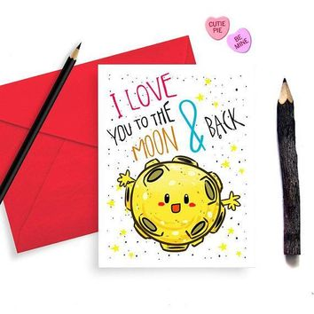 I Love You to the Moon and Back Funny Anniversary Card Valentines Day Card