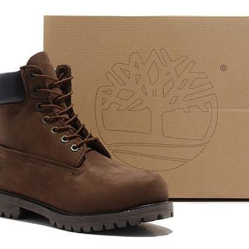 Timberland Men Women Icon 6-inch Premium Classic Dark Chocolate Nubuck Waterproof Boots