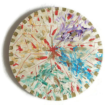 """Abstract original acrylic painting, round wall art on stretched canvas, home decor """"Das goldene Zeitalter"""""""