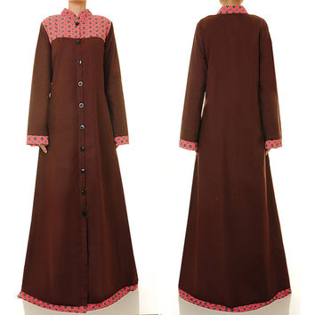 Brown Cotton Abaya Maxi Dress, Button Down Long Sleeve Maxi Dress - Size M/L (6170)