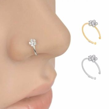 Fashion Piercing Nose Ring Indian Flower Nose Stud Hoop Septum Clicker Piercing Nose Clip Rings Body Piercing Jewelry #248361
