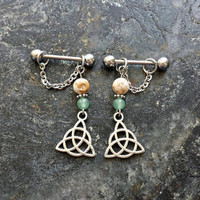 Trinity Celtic Knot - Howlite & Aventurine - Set of 2 !! 14g (1.6mm) or 16g (1.2mm) Nipple Barbell Jewelry Piercings Accessory 14 16 Gauge