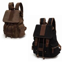 New Vintage Unisex Canvas Backpack Rucksack School Travel Bag Satchel Bag