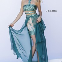 Sherri Hill Emerald Racer Front Crop Top Short Skirt