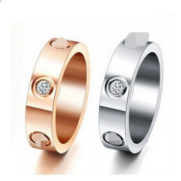 Top Classic Design Famous Brand 6mm white Rose yellow gold Plated CZ diamond lovers wedding band love ring for Women Men