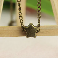 necklace--star necklace,antique bronze charm bracelet,love jewelry,alloy chain