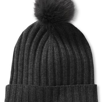 Banana Republic Ribbed Pom Pom Beanie Size One Size - Dark gray