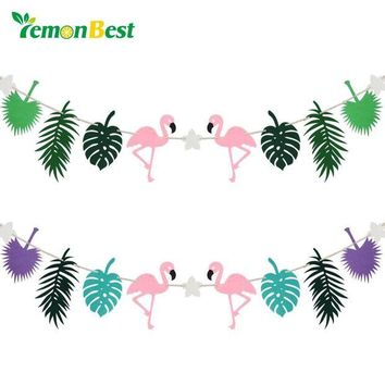 ONETOW LemonBest Flamingo Pineapple Fabric Banner Cocunut Leave Bunting Garland Party Favors Wedding Decoration Birthday Party Supplies