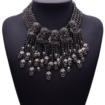 Gothic Rock Punk Crystal Skull Chain Choker Necklace