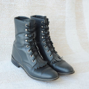 Vintage Justin Grey Leather Roper Boots US Womens 6 1/2 - 7 narrow
