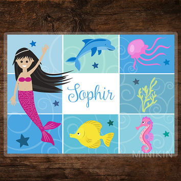 Large Personalized Placemat - Kids Placemat - Childrens Placemat - Mermaid - Ocean - Dolphin - Seahorse - Toddler Table - Place Mat Children