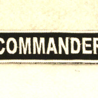 COMMANDER White on Black Small Badge Patch for Biker Vest SB704