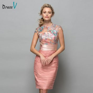 Dressv Pearl Pink Chiffon Short Cocktail Dresses 2018 Sequins Lace Knee Length Women Prom Dress Designer Formal Holiday Gown