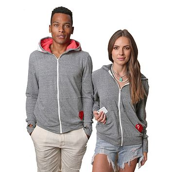 Unisex- Zuma Zip-Up Hoodie- Grey color with Navy/Red/White stripe Towel