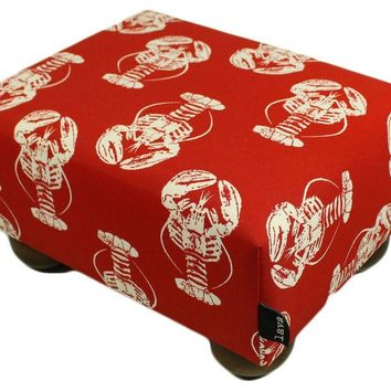 Sea of Lobsters Red Upholstered Fabric Footstool Ottoman