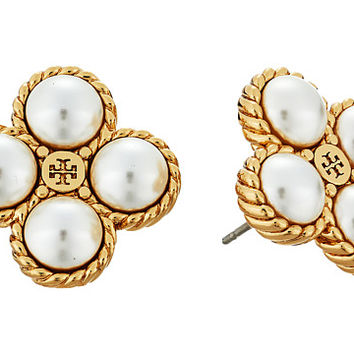 Tory Burch Rope Clover Pearl Stud Earrings