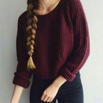 Womens Red Wine Loose Pullovers Casual Crop Sweater