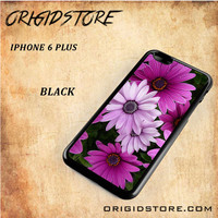 Beautiful Purple Flower Black White Snap On 3D For Iphone 6 Plus Case