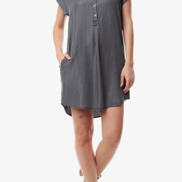 Cari Cuffed Sleeve Tencel Shirt Dress in Black
