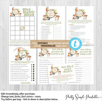 Woodland Baby Shower Games Package, EDITABLE Game, Template, Edit Yourself, Boy, Woodland Theme, The Price is Right, Bingo, Templett, WD02