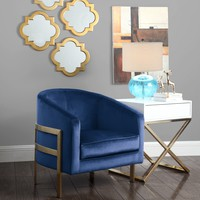 Monty Accent Club Chair Velvet Plush Brushed Brass - Navy