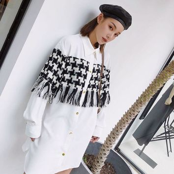 LANMREM 2018 New Fashion Plaid Tassel Patchwork Long Type Blouse Female's Long Sleeve White Casual Shirt Vestido YE64600