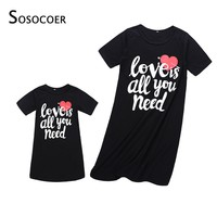 SOSOCOER Mother Daughter Dresses Summer Mom and Daughter Dress Family Look Matching Clothes Outfits Mother and Daughter Clothes