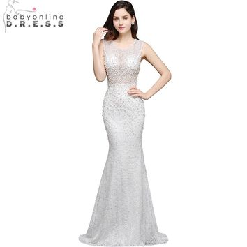Babyonline Gorgeous Full Pearls Mermaid Wedding Dresses 2017 Sleeveless Elegant O Neck Bride Dresses vestido de noiva