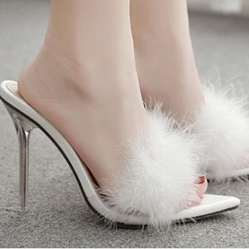 Hot style sells sexy peeptoe crystal super-high heel slippers shoes