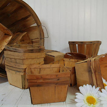 Vintage Aged Wood Berry Baskets - Farm House Fresh Finds for Storage - Rustic Organizer Bins Collection Wedding Flower Basket - 4 Available