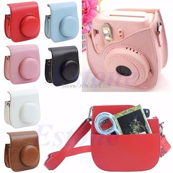 Leather Camera Shoulder Strap Bag Protect Case Pouch For Fujifilm Instax Mini 8 & 9