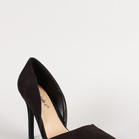 Breckelle Faux Suede Pointy Toe Sweetheart Pump
