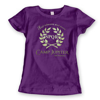 Camp JUPITER SF - funny cool Half-Blood Tee Halloween costume halfblood book movie Percy Jackson girls new - WOMENS Purple T-Shirt DT0032