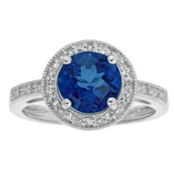2.4 Ct Round Blue Sapphire Diamond Sterling Silver Ring (.005cttw, I-J Color)