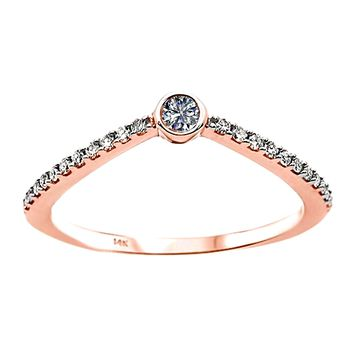 0.17ct Round Diamonds in 14K Gold Solitaire Chevron  Engagement Ring