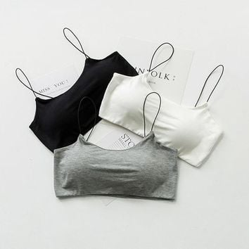 SP&CITY Simple Deisgn Solid Cotton Soft Sexy Women Bra Tops Sexy Wire Free Seamless Bras Female Lingerie Wire Free Push Up Bra