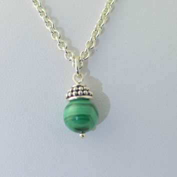 "925 Sterling Silver Malachite Gemstone Pendant Necklace with 30"" chain"
