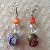 Multicolor Murano glass earrings hand made lampwork glass earrings silver plated original design beautiful gift Mother's Day birthday