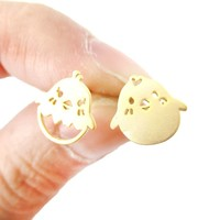 Adorable Baby Boy and Girl Chick Bird Shaped Animal Inspired Stud Earrings in Gold