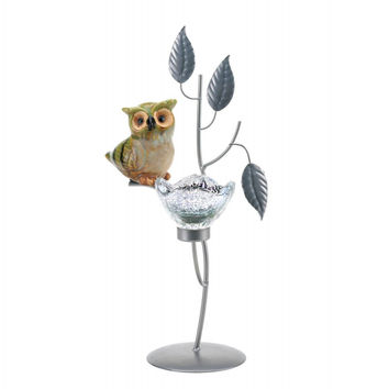 Perched Owl Flower Candleholder