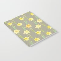 Yellow Watercolour Stemmed Daffodil Pattern Notebook by Tanyadraws