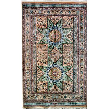 Oriental Pakistani Kashmiri Wool and Cotton Rug, Orange/Light Green