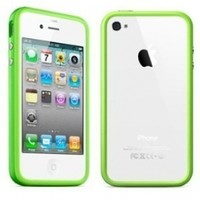 Bumper Case for Apple iPhone4 - Bumper with chrome buttons for volume and power - Green