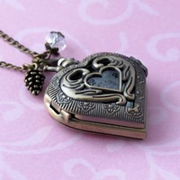Large Brass Heart Shaped Pocket Watch Pendant Necklace WP979