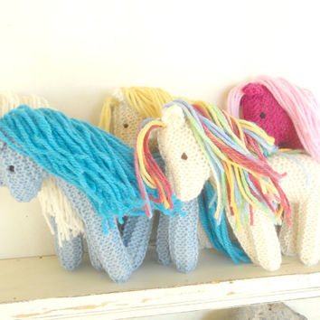 Earth Pony, Waldorf Toy, Stuffed Animal Horse, Eco Kids Toy, HandKnit, All Natural Childrens Toy Valentine