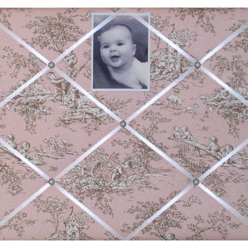 Pink & Brown (Central Park Toile) French Memo Board by ToileChicBoutique